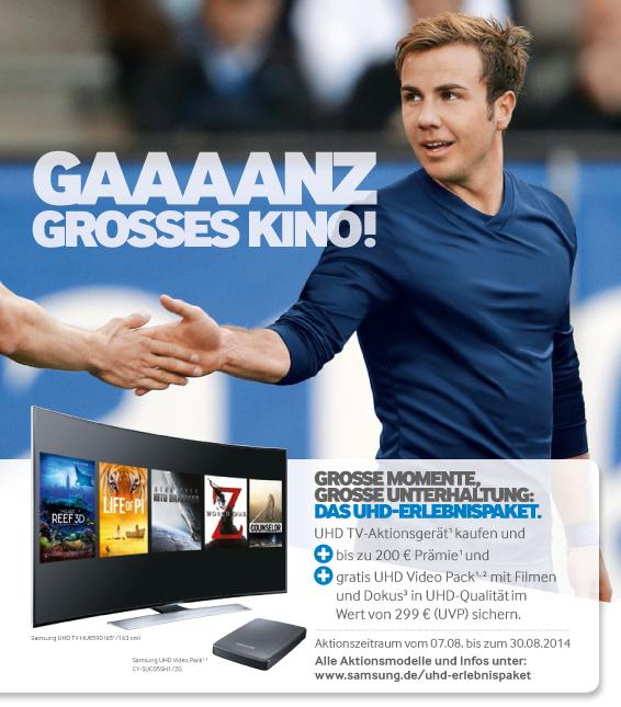 "Samsung UHD TV Aktion ""GAAAANZ GROSSES KINO!"": Prämie + UHD Video Pack"